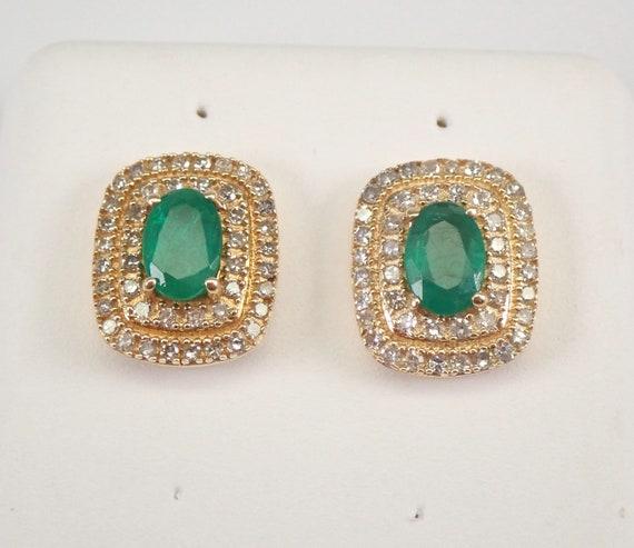 14K Yellow Gold Emerald and Diamond Double Halo Stud Earrings 1.25 ct Studs May Gemstone