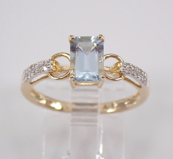 Diamond and Emerald Cut Aquamarine Engagement Ring 14K Yellow Gold Aqua Size 7 March Gemstone