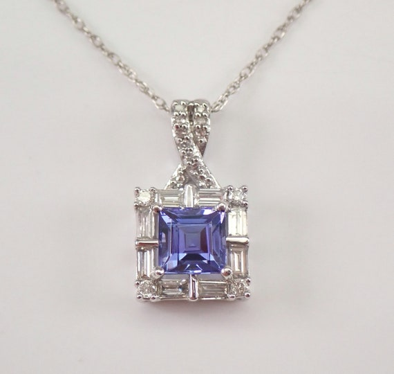 """Diamond and Princess Cut Tanzanite Pendant Halo Necklace White Gold 18"""" Chain"""