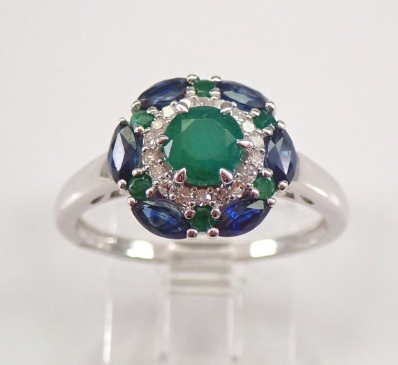 White Gold Diamond Sapphire Emerald Flower Halo Cluster Engagement Ring Size 7 FREE Sizing