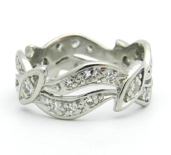 Antique Ring Platinum Ring Diamond Ring Wedding Ring Eternity Anniversary Band Size 6.25 G VS