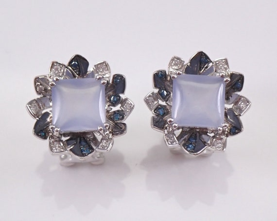 14K White Gold Blue Diamond and Chalcedony Flower Cluster Earrings Omega Clasp Clip