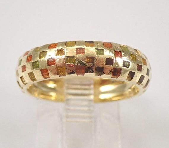 Vintage HIDALGO 18K Yellow Gold Enamel Wedding Ring Anniversary Band Size 6.5
