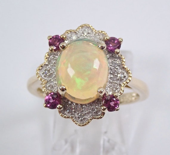 Opal Diamond Pink Tourmaline Engagement Ring Yellow Gold Size 7 October Gemstone FREE Sizing