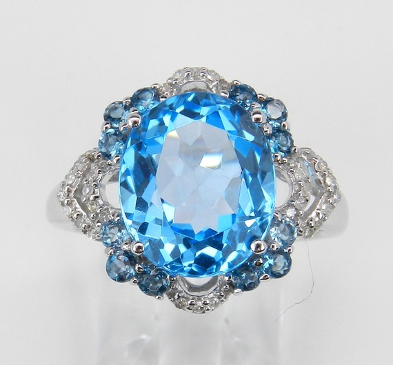 Diamond and Blue Topaz Ring Statement Right Hand Ring White Gold Ring Size 6.75 FREE Sizing