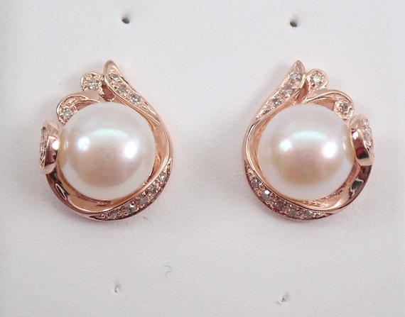 14K Rose Gold Pearl and Diamond Stud Earrings June Birthstone Button Studs