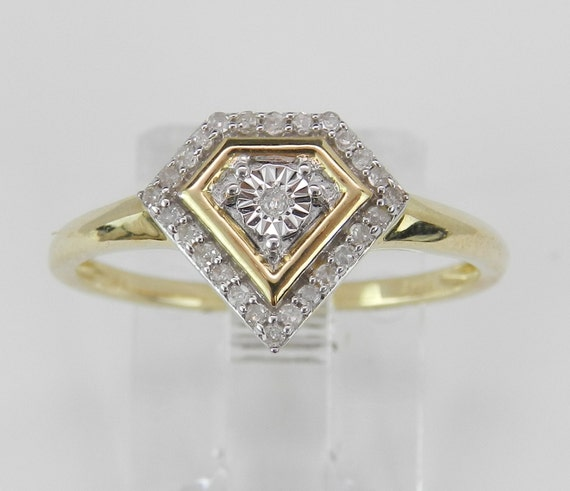 REDUCED Diamond Cluster Ring Promise Engagement Ring Yellow Gold Size 7 Graduation Gift