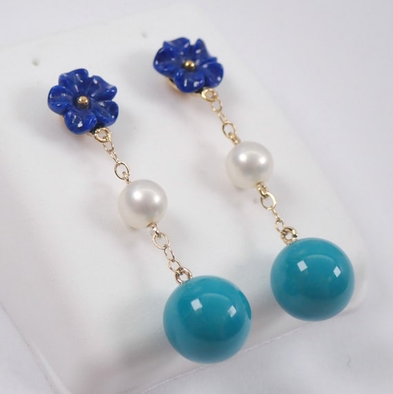 14K Yellow Gold Lapis Lazuli Flower Turquoise Bead and Pearl Dangle Drop Earrings