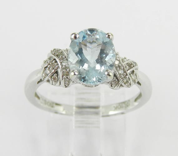 Aquamarine and Diamond Engagement Ring White Gold Size 7 March Birthstone Promise