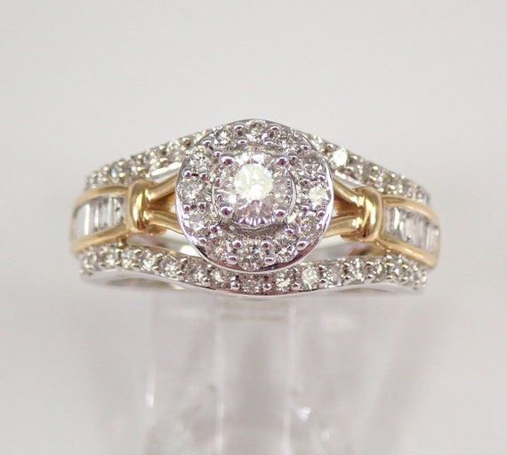White and Yellow Gold 1.00 ct Diamond Halo Engagement Ring Size 7 FREE SIZING