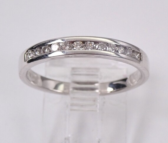 Diamond Wedding Ring Anniversary Band 14K White Gold Stackable Channel Set Size 7