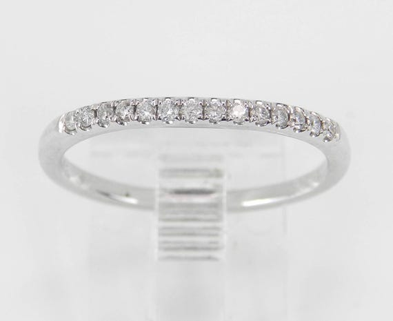 Diamond Wedding Ring Pave Set Contour Anniversary Band White Gold Size 6.75
