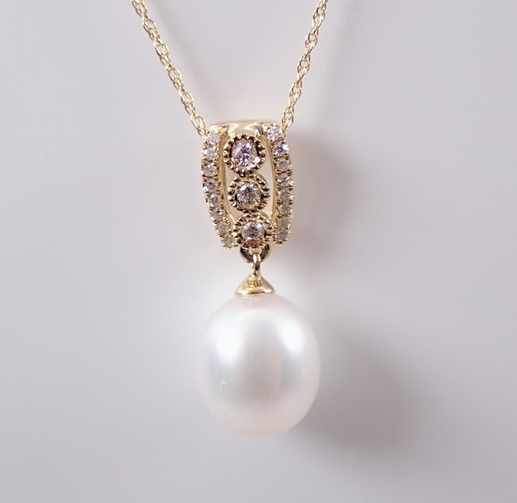 """Yellow Gold Diamond and Pearl Drop Pendant Necklace with Chain 18"""" June Gemstone Birthstone"""