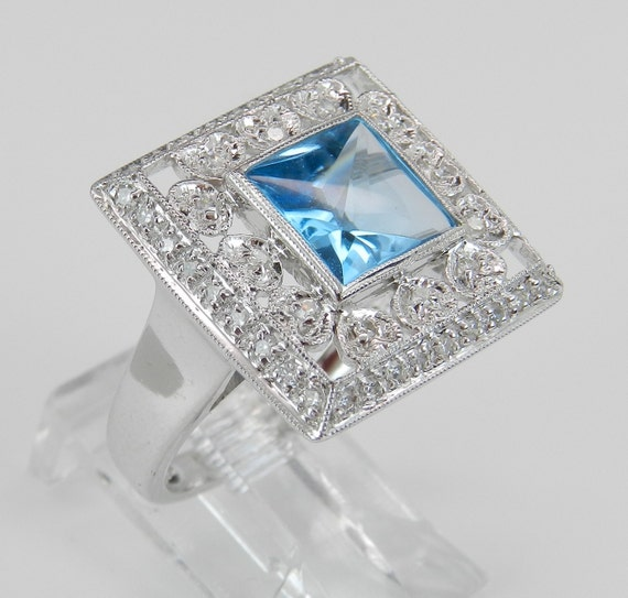 Diamond and Blue Topaz Ring Square Halo Ring Statement Ring 14K White Gold Princess Cut Gemstone Size 7 FREE Sizing