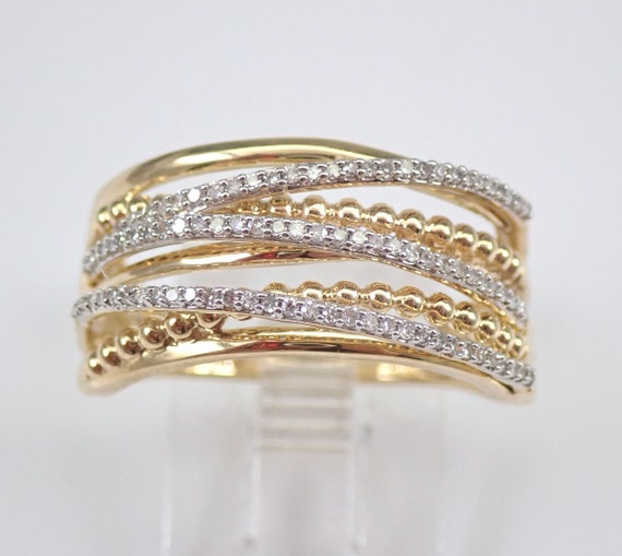 Yellow Gold Diamond Anniversary Ring Multi Row Crossover Wedding Band Size 7