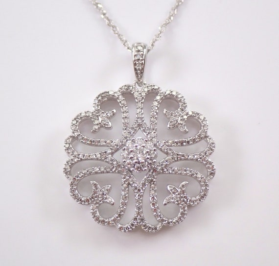 "14K White Gold 1 ct Diamond Cluster Pendant Snowflake Necklace 18"" Chain"