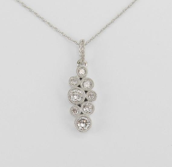 """White Gold Diamond Cluster Pendant Bezel Set Bubbles Necklace Chain 18"""""""