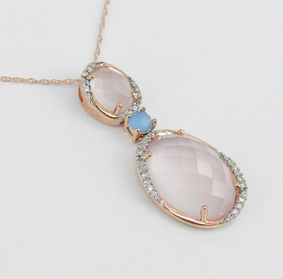 "Frosted Rose Quartz Diamond Blue Topaz Necklace Pendant 18"" Rose Gold Chain Unique Wedding Gift"