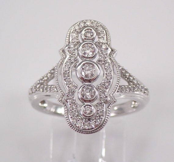 Vintage Style Diamond Cocktail Cluster Ring Size 7 14K White Gold Antique Style