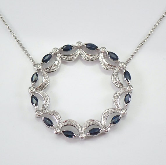 """Diamond and Sapphire Circle of Life Necklace Pendant 14K White Gold Chain 18"""""""