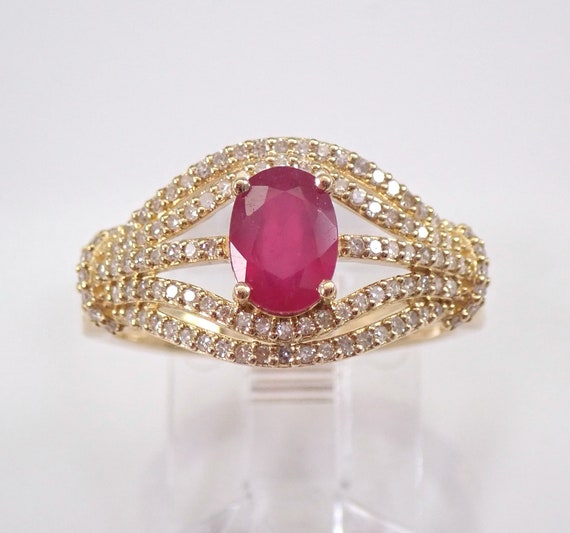 Ruby and Diamond Engagement Ring 1.25 ct Yellow Gold Size 7 July Birthstone FREE Sizing