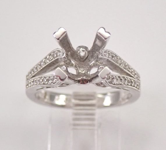 14K White Gold Diamond Engagement Ring Setting Semi Mount Size 6.5