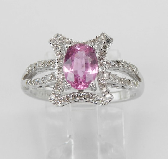 Diamond and Pink Sapphire Ring, Pink Sapphire Engagement Ring, 14K White Gold Sapphire Ring, Size 7, Unique Design Pink Stone Ring