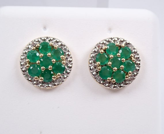 Emerald and Diamond Cluster Stud Earrings Halo Studs Yellow Gold May Birthstone