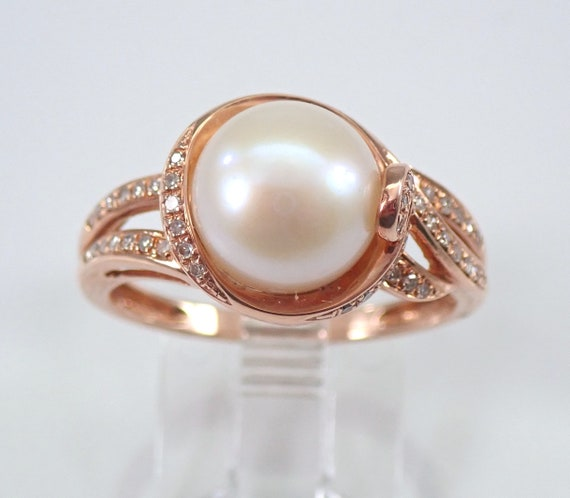Diamond and Pearl Engagement Ring Promise Rose Gold Size 8 June Gemstone
