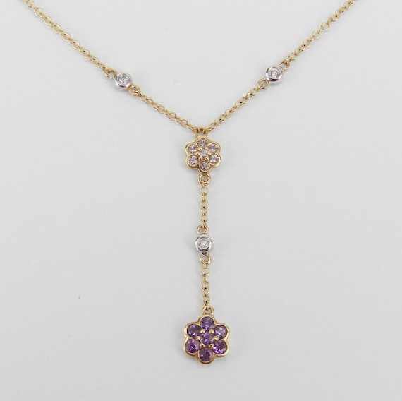14K Yellow Gold Diamond, Tanzanite and Amethyst Flower cluster Necklace