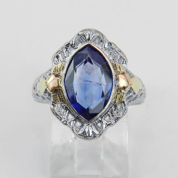 Antique Art Deco Blue Lab Corundum Solitaire Cocktail Ring White Gold Size 6.75
