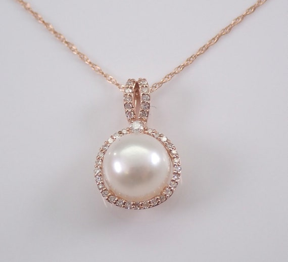"14K Rose Gold Diamond and Pearl Halo Pendant Necklace with Chain 18"" June Gemstone"