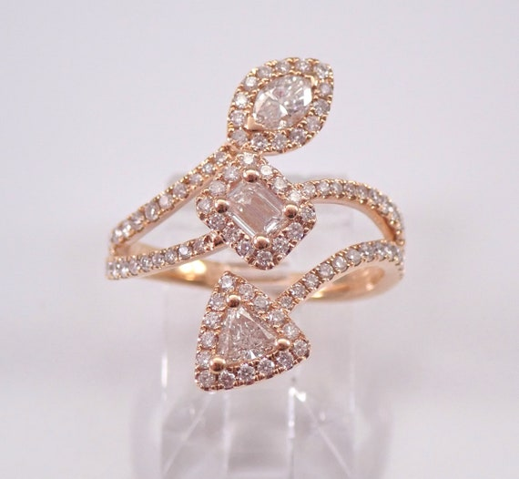 18K Rose Gold Diamond Crossover Multi Row Ring Trillion Emerald Cut Marquise Halo FREE Sizing