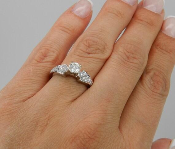 Diamond Engagement Ring, 14K White Gold Mounting, Engagement Setting, White Gold Semi Mount, Diamond Mounting, Cubic Zirconia Ring