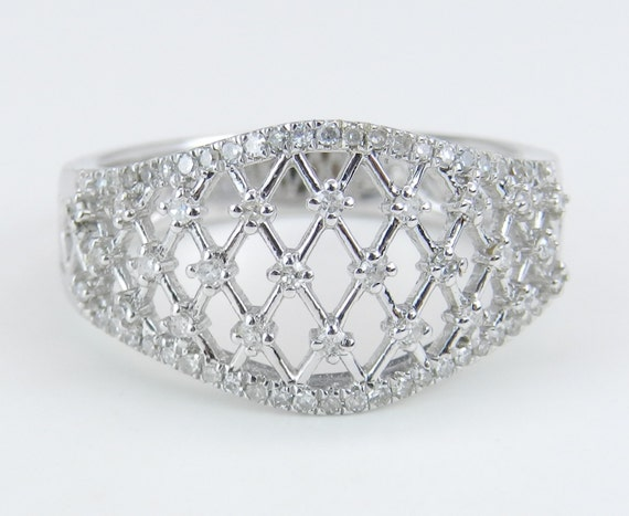 Diamond Cluster Anniversary Band Filigree Lattice Wedding Ring 14K White Gold Size 7
