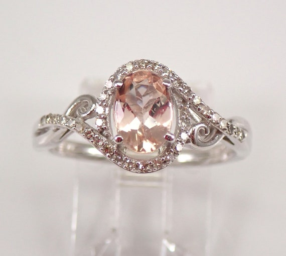 Diamond and Morganite Halo Engagement Ring White Gold Size 7