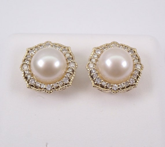 Pearl and Diamond Halo Stud Earrings Yellow Gold June Birthstone Wedding Studs