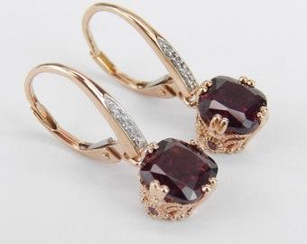 Rose Gold Cushion Cut Rhodolite Garnet and Diamond Dangle Earrings January Gemstone