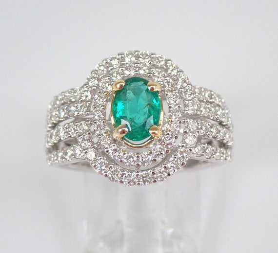 18K White Gold 1.95 ct Diamond and Emerald Double Halo Engagement Ring May Gem Size 7 FREE Sizing