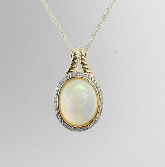 """Diamond and Opal Halo Pendant Enhancer Necklace 14K Yellow Gold 18"""" Chain October Gemstone"""