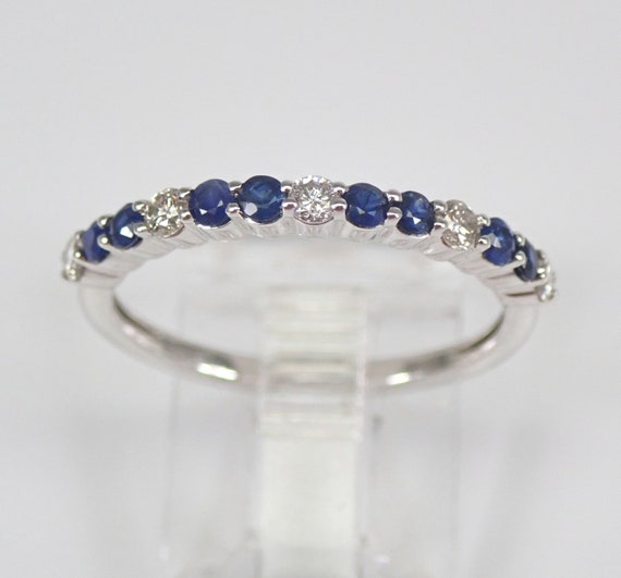 Diamond and Sapphire Wedding Ring Anniversary Band White Gold Size 7