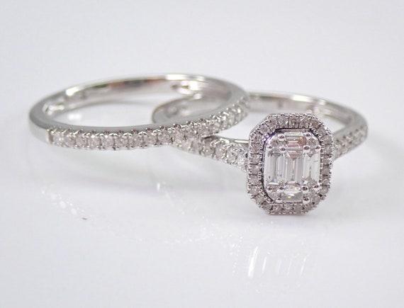 White Gold Diamond Halo Engagement Ring Wedding Band Set Size 7 FREE SIZING