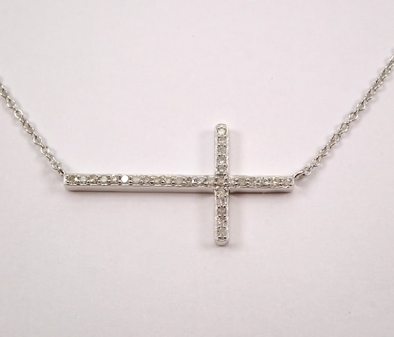 "White Gold Diamond Cross, Diamond Sideways CROSS, Cross Necklace, Diamond Cross Necklace, Religious Jewelry Charm 17.5"" Chain"