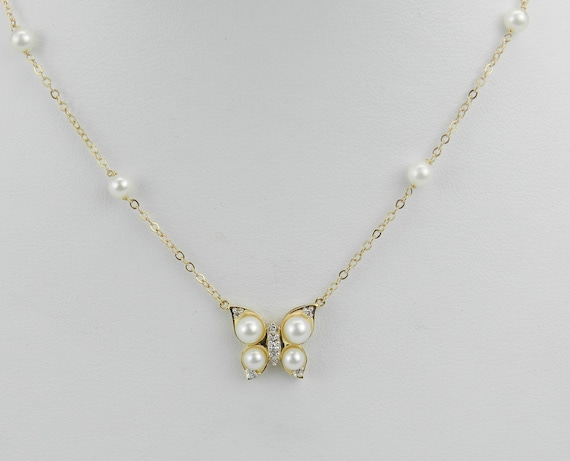 14K Yellow Gold Pearl and Diamond Butterfly Necklace Wedding Pendant Chain 18""