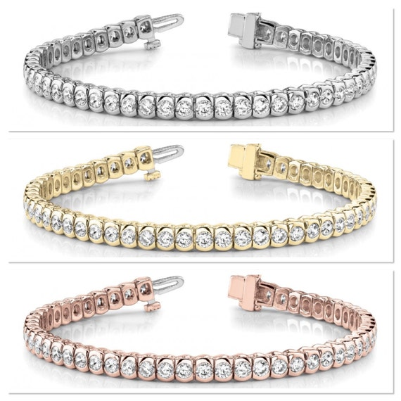 Diamond Tennis Bracelet, In Line Tennis Bracelet, Bezel Set Tennis Bracelet, 5 ct Bracelet, 14K White Gold Bracelet, Yellow Gold, Rose Gold