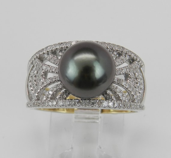 Diamond and Black Pearl Engagement Ring 14K White Gold June Birthstone Size 7 FREE Sizing