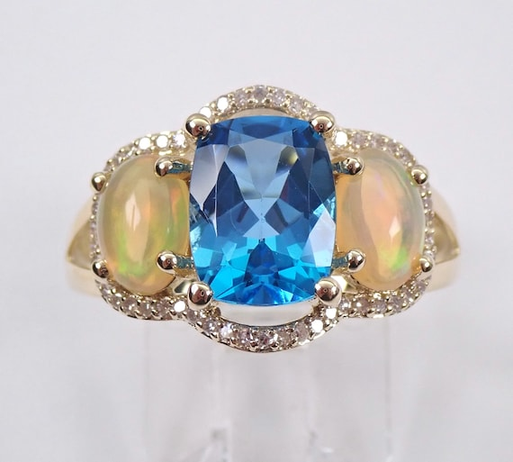 Opal Diamond Blue Topaz Three Stone Yellow Gold Engagement Ring Size 7 Cushion Cut Mothers Ring