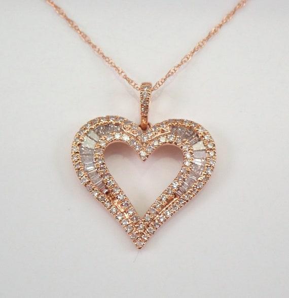 "14K Rose Gold Diamond Heart Pendant Necklace 18"" Chain Graduation Wedding Gift Present"