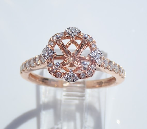 14K Rose Gold Diamond Halo Engagement Ring Setting Semi Mount Mounting Size 7