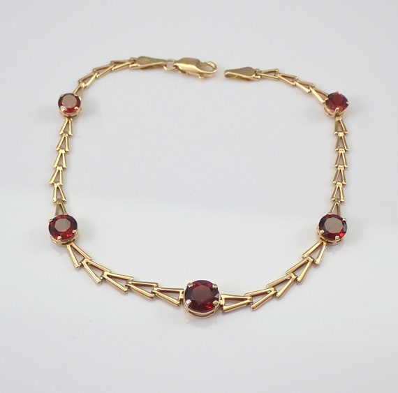 "Vintage Estate 14K Yellow Gold 3.50 ct Garnet Tennis Bracelet 8"" January Birthstone"